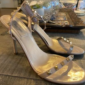 Valentino Tan Rockstud Sandals